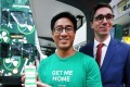 Citymapper's Gene Soo (left) and Hong Kong Tramways' Emmanuel Vivant demonstrate real-time tram data on the app. Photo: Jonathan Wong