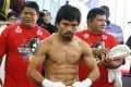 Manny Pacquiao, seen posing last month after a workout, was dropped by Nike following his comments. Photo: Reuters