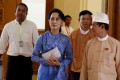 Aung San Suu Kyi arrives at the Union Parliament in Naypyidaw. Photo: Xinhua