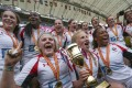 Canada win the Invitational event in Hong Kong last year. Women are expected to dominate sevens growth. Photo: Felix Wong