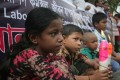 Bangladeshi activists and relatives of victims in the collapse of the Rana Plaza building attend a protest on the third anniversary of the disaster. Photo: Xinhua