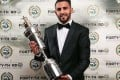 Riyad Mahrez with his award. Photo: PFA