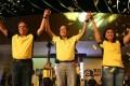 President Benigno Aquino (centre) endorses Mar Roxas (left) and Maria Leonor Robredo. Photo: EPA