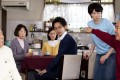 Isao Hashizume (left) and Kazuko Yoshiyuki (second from left) play a long-married couple looking at the prospect of a divorce in What a Wonderful Family! (category I: Japanese). Directed by Yoji Yamada, the film also stars Masahiko Nishimura.