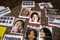 Portraits of China's Feminist Five displayed during a protest in Hong Kong in April 2015 calling for thier release from detention. Photo: Reuters