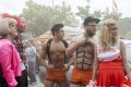 Zac Efron (centre) and Seth Rogen (second from right) in Bad Neighbours 2. Photo: AP