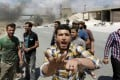 Syrian protesters block Damascus-Aleppo highway with burning tyres. Photo: Reuters