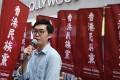 Hong Kong National Party convenor Chan Ho-tin speaks in Mong Kok. Photo: Sam Tsang
