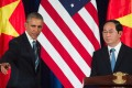 US President Barack Obama and Vietnam's President Tran Dai Quang (R) at joint press conference in Hanoi. Photo: AFP
