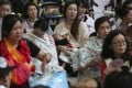Breastfeeding mothers in a flash mob protest at Tai Wai MTR station. Photo: Sam Tsang