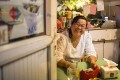 Zhao Shiling at her flower shop on Changle Road in Shanghai. Photo: Yang Shenlai
