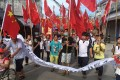 Villagers pictured during a protest in Wukan on Sunday. Photo: Reuters