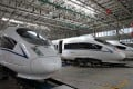 High-speed trains on show at the CRRC Tangshan factory, where China has been showcasing the industry to foreign officials. Photos: Simon Song