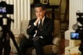 Chief Executive Leung Chun-ying takes questions in Government House. Photo: Nora Tam
