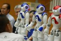 NAO humanoid robots on display at a function led by the Chinese University of Hong Kong on June 29, 2016. Photo: Nora Tam