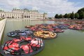 Chinese artist Ai Weiwei's installation F Lotus, made of life vests floating on the pond at Vienna's Belvedere Palace. Photo: AP