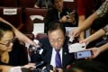 Philippine Solicitor General Jose Calida talks to the media in suburban Quezon city on Friday. Photo: AP