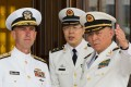 Commander of the Chinese Navy Admiral Wu Shengli points out the layout of the Chinese Navy Headquarters to visiting US Chief of Naval Operations Admiral John Richardson in Beijing on Monday. Photo: Reuters