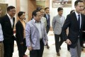 Pan-democrats head into their meeting with the chairman of the election watchdog. Photo: Sam Tsang