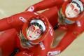 Gong Jinjie and Zhong Tianshi of China compete. Photo: Reuters