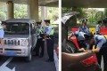 Officers inspecting vehicles ahead of the summit. Photo: SCMP Pictures