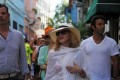 Madonna walks along a street in Havana, where she is celebrating her 58th birthday. Photo: AFP