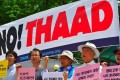 Activists protest against the deployment of the US-built Thaad anti-missile system outside the defence ministry in Seoul. Photo: AFP