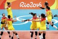 China's women's volleyball team celebrate their finals win over Serbia at the 2016 Rio Olympic Games in Rio de Janeiro. Photo: Xinhua