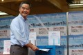Chief Executive Leung Chun-ying casts his vote on Sunday morning. Photo: K. Y. Cheng