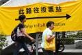 Hongkongers head to vote at a ballot station in Sha Tin. Photo: David Wong