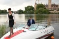 Frauke Petry, leader of the anti-migrant populists AfD arrives in a boat for an election results party on Sunday in Schwerin, north-eastern Germany. Photo: AFP