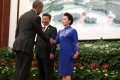 China's President Xi Jinping and his wife, Peng Liyuan, greet US President Barack Obama before the start of welcoming banquet at the G20 summit in Hangzhou on Sunday. Photo: Reuters