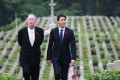 Canadian prime minister Justin Trudeau (right) with British historian Tony Banham at the Sai Wan War Cemetery to pay their respects to fallen soldiers. Photo: Sam Tsang