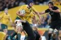 Australia's Dean Mumm runs with the ball during the Bledisloe Cup match between New Zealand. Photo: EPA