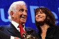 Actor Jean-Paul Belmondo smiles as he receives a Golden Lion award for lifetime achievement presented by French actress Sophie Marceau at the 73rd Venice Film Festival. Photo: Reuters