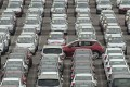 Newly manufactured cars parked at Dayaowan port of Dalian, in Liaoning province. Photo: Reuters