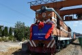 The inaugural freight train on a line from China to Afghanistan leaves its depot in August. Photo: Reuters
