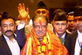 Nepal's Prime Minister Pushpa Kamal Dahal, also known as Prachanda, waves towards the media after he was elected in August, 2016. Photo: Reuters