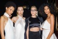 Lady Gaga, second from right, poses with models at the Maxwell Spring/Summer 2017 collection. Photo: AP