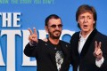 Ringo Starr and Paul McCartney attend a special screening of the film The Beatles Eight Days A Week: The Touring Years in London on Thursday. Photo: AFP