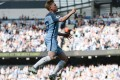 Kevin De Bruyne celebrates scoring the opening goal in Manchester City's 4-0 victory over Bournemouth at the Etihad Stadium. Photo: AFP