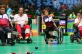Leung Yuk-wing (left) and Lau Wai-yan in the boccia mixed pairs event. Photo: Hong Kong Paralympic Committee.