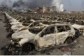 Cars burned out in the huge blasts a chemical warehouse in Tianjin last year. Photo: Associated Press