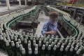 A labourer at an assembly line in a factory of China Resources Snow Breweries Co., Ltd. in Lanzhou, Gansu province, in this August 25, 2010 file photo. Photo: Reuters