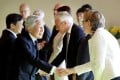 Japanese Emperor Akihito meeting lower house speakers from the Group of Seven countries at the Imperial Palace in Tokyo on September 2, 2016. Photo: Kyodo