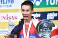 Lee Chong Wei of Malaysia celebrates after his victory. Photos: AFP
