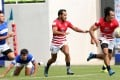 Salom Yiu Kam-shing (right) and Ben Rimene in action for Hong Kong at the Asia Rugby Sevens Series in South Korea. Photos: HKRU