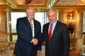 US Republican presidential candidate Donald Trump greets Israeli Prime Minister Benjamin Netanyahu at Trump's home in Trump Tower in New York on Sunday. Photo: EPA