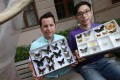 Timothy Bonebrake (left) and Toby Tsang Pak-nok display some of the butterflies researchers found in Hong Kong's urban parks. Photo: K. Y. Cheng