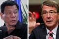 Philippine President Rodrigo Duterte and US Defence Secretary Ash Carter. Photos: Reuters